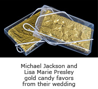 Michael Jackson and Lisa Marie Presley gold candy favors from their wedding
