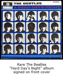 "Rare The Beatles ""Hard Day's Night"" album signed on front cover"