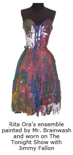 Rita Ora's ensemble painted by Mr. Brainwash and worn on The Tonight Show with Jimmy Fallon