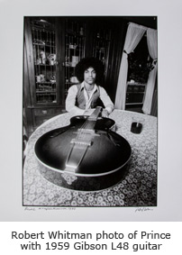 Robert Whitman photo of Prince with 1959 Gibson L48 guitar also being offered in auction