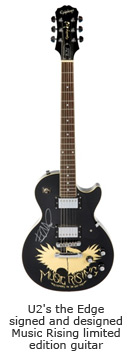 U2's the Edge signed and designed Music Rising limited edition guitar