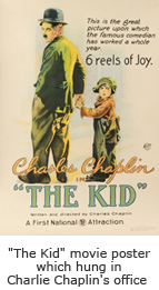 """The Kid"" movie poster which hung in Charlie Chaplin's office"