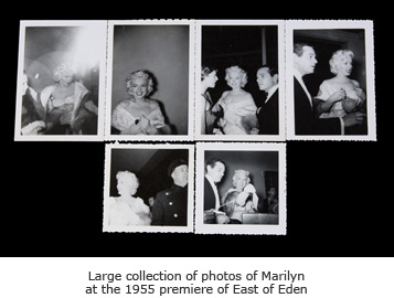 Large collection of photos of Marilyn at the 1955 premiere of East of Eden