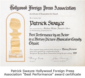 "Patrick Swayze ""Best Performance"" award certificate"