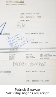Patrick Swayze Saturday Night Live script